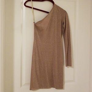 BCBG MaxAzria One Shoulder Gold Dress